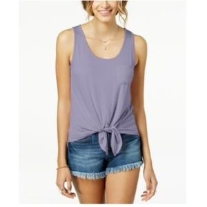 Pretty Rebellious Olive Tie-Front Pocket Tank Top